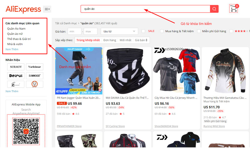 Tìm kiếm sản phẩm Aliexpress